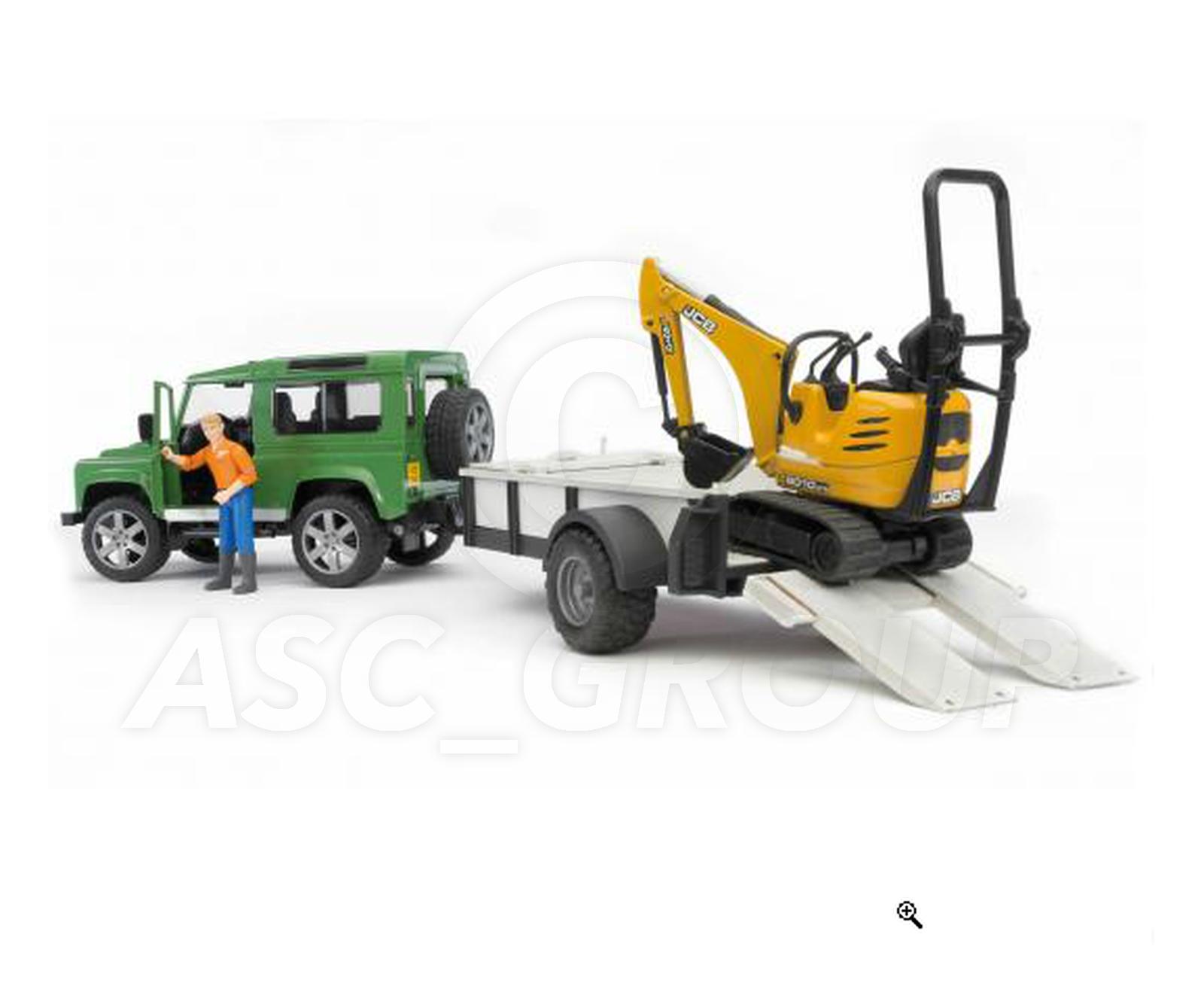 Bruder Toys 02593 Land Rover Defender Amp Trailer Micro
