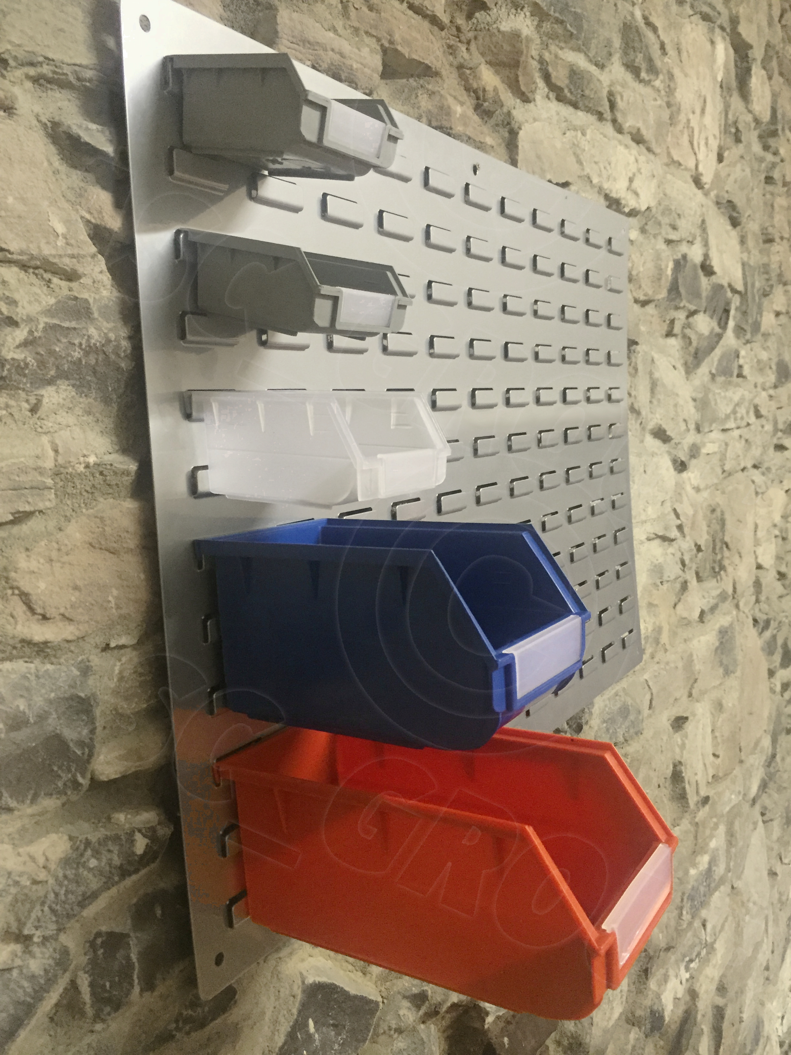 wall mount or stackable storage parts bins boxes various sizes colours nuts bolt ebay. Black Bedroom Furniture Sets. Home Design Ideas