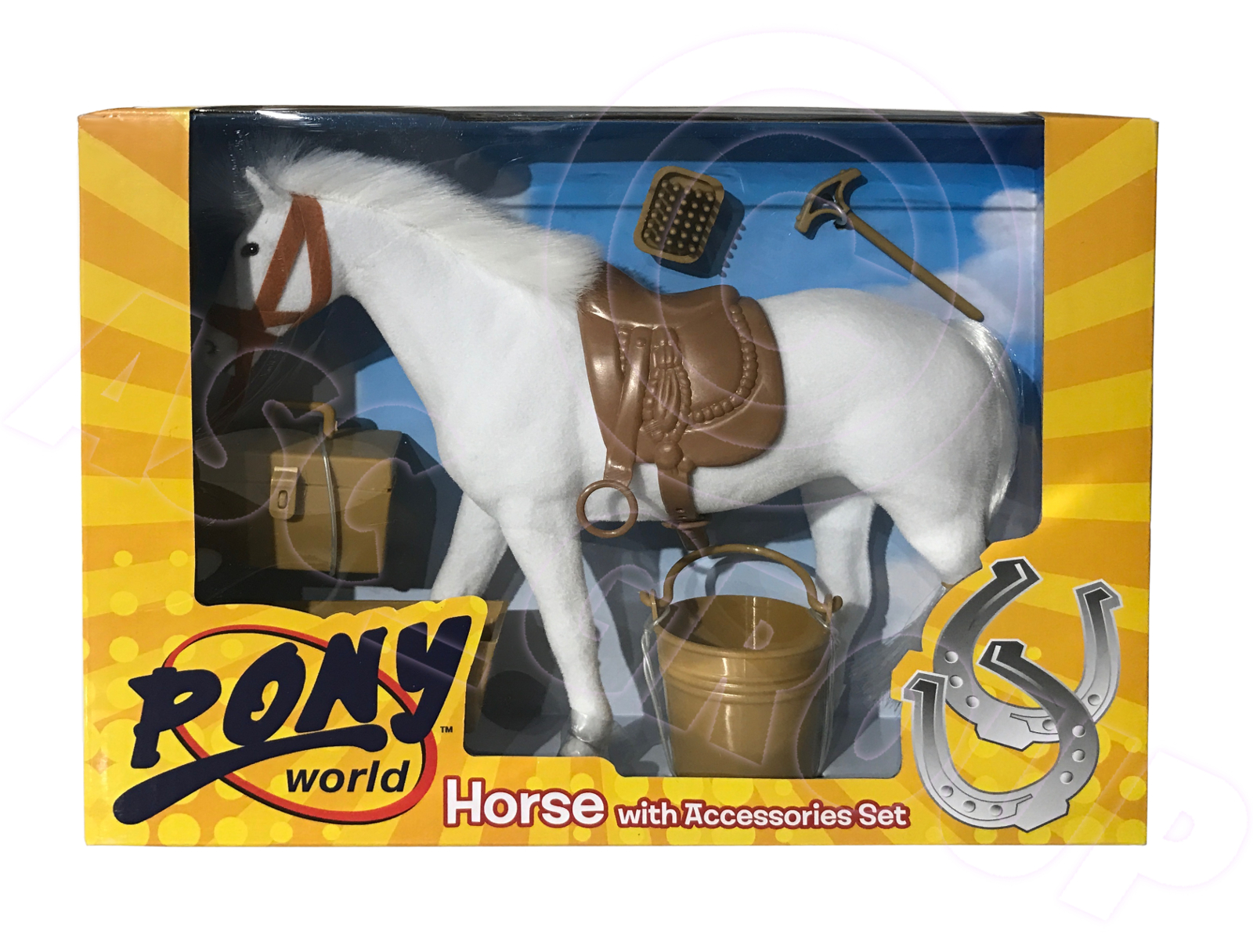 Pony World Toys Horse With Accessories Set Sadle Bucket