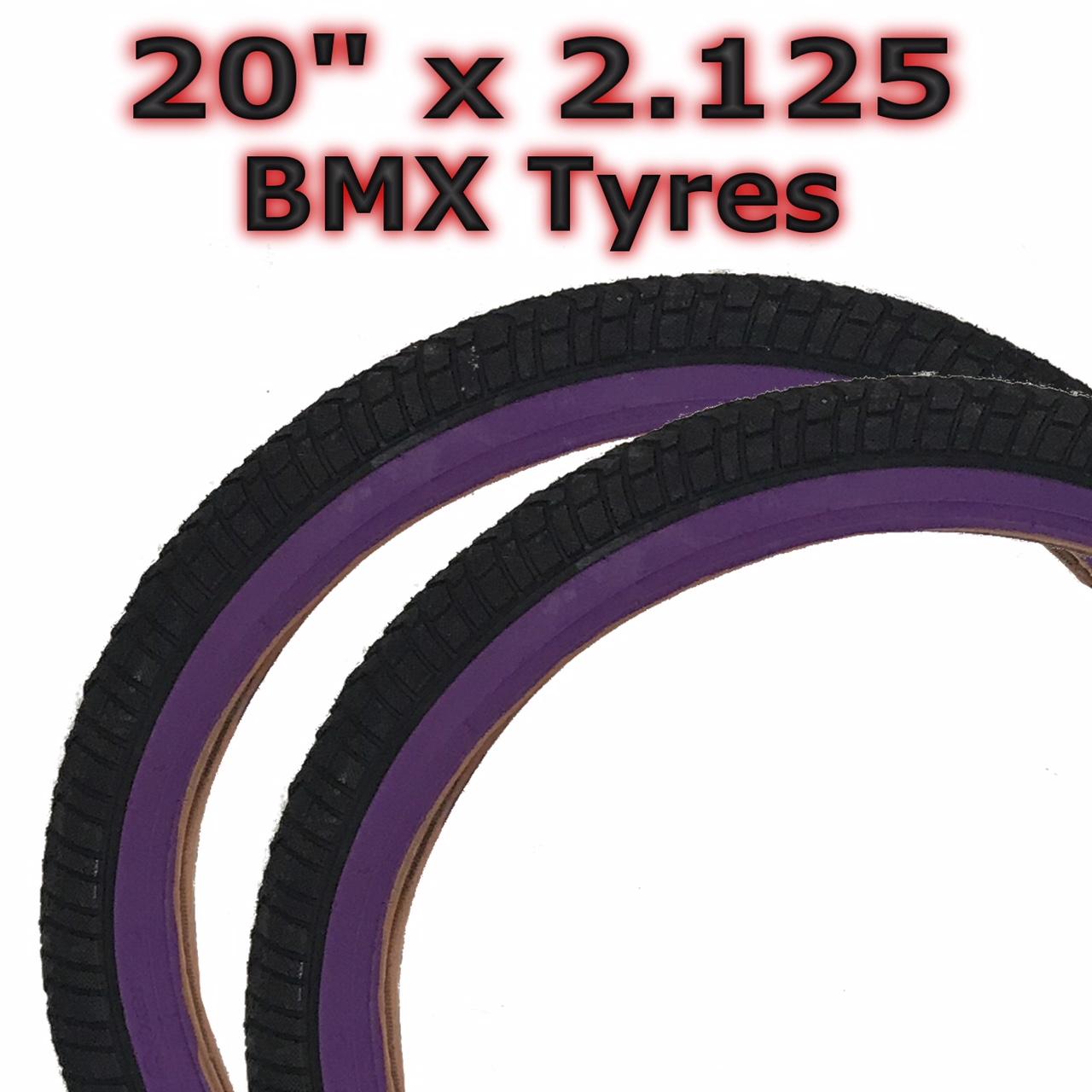 "2x Purple Black 20/"" x 2.125 BMX Childrens Girls Kids Bicycle Tyre 57-406"