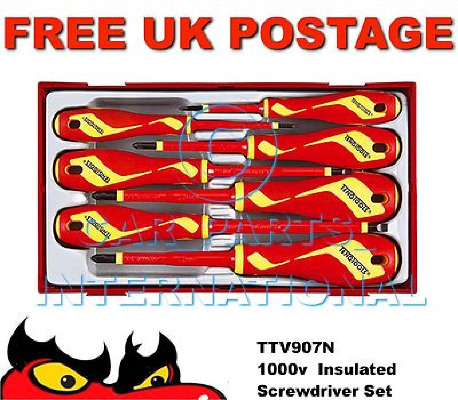 teng tools insulated screwdriver set 1000 volt electrician ttv907n ebay. Black Bedroom Furniture Sets. Home Design Ideas