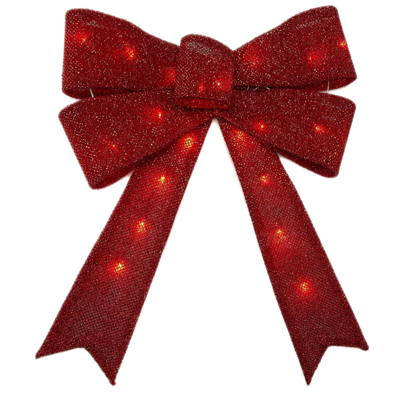 christmas ribbon large led light up glow red seasonal xmas