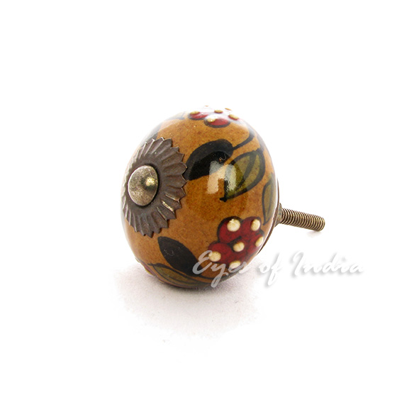 Brown green ceramic decorative cabinet door cupboard for Painted ceramic cabinet knobs