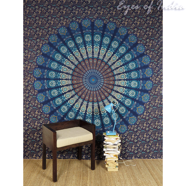 Hippie Chic Wall Decor : Queen blue hippie tapestry indian bedspread mandala wall
