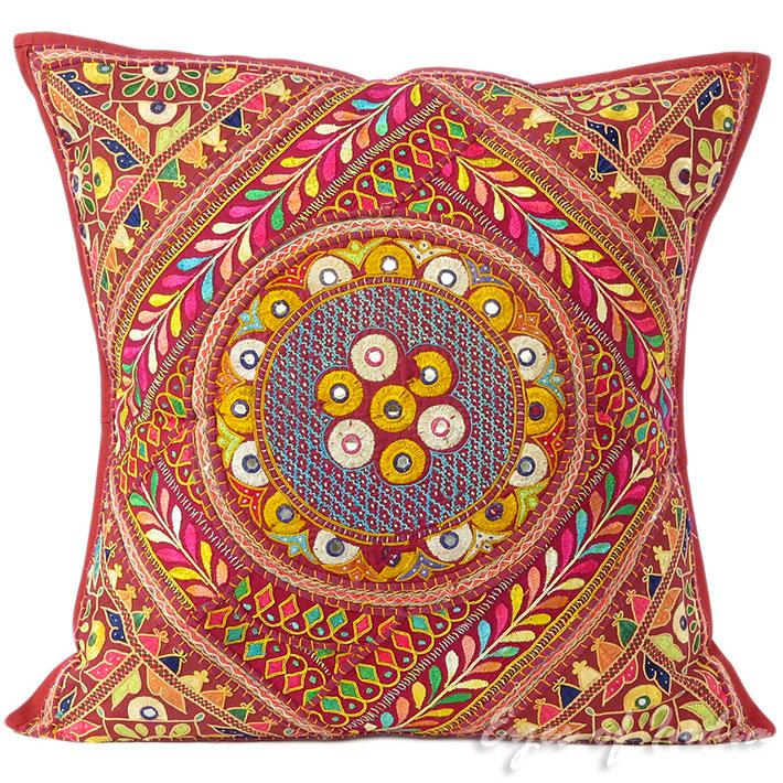 24 weinrot patchwork sofa kissenbezug boho indisch for Sofa indisch
