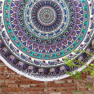 "Picnic Beach Roundie Spread Hippie Towel Mandala Tapestry - 80"""