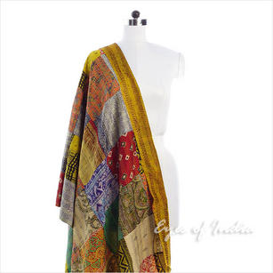 Colorful Patchwork Reversible Kantha Silk Wrap Scarf Shawl - 30 X 80""
