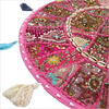 Pink Boho Patchwork Bohemian Round Floor Pillow Cushion Cover with Shells - 22""