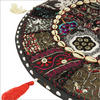 """Black Patchwork Round Floor Pillow Cushion Cover with Shells - 17"""""""