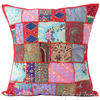 Red Decorative Patchwork Sofa Cushion Pillow Cover Throw - 24""