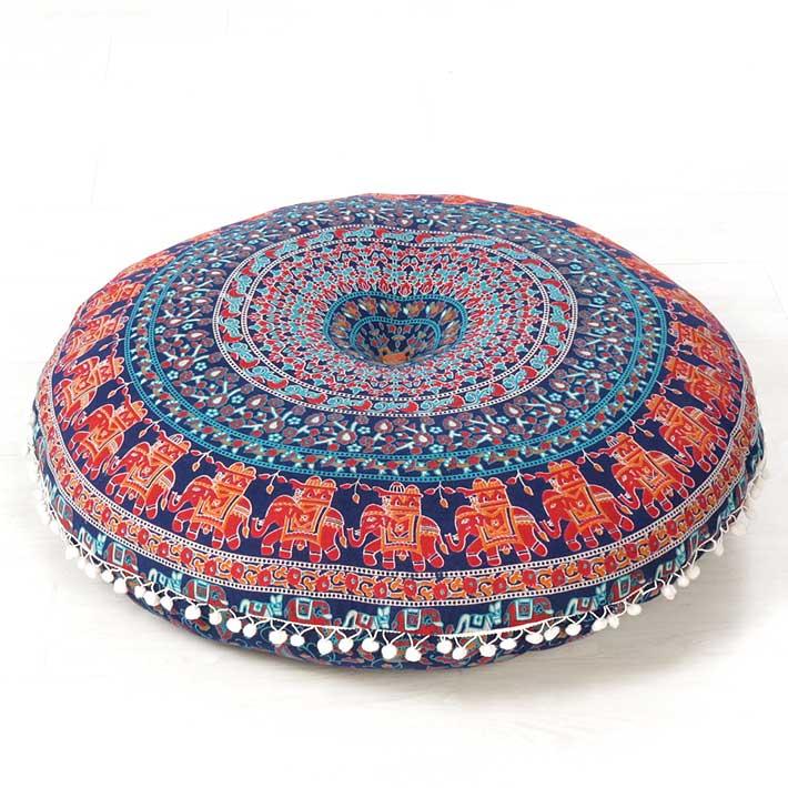 Decorative Floor Pillows Cushions : Blue Decorative Floor Pillow Boho Mandala Bohemian Hippie Cushion Cover - 32