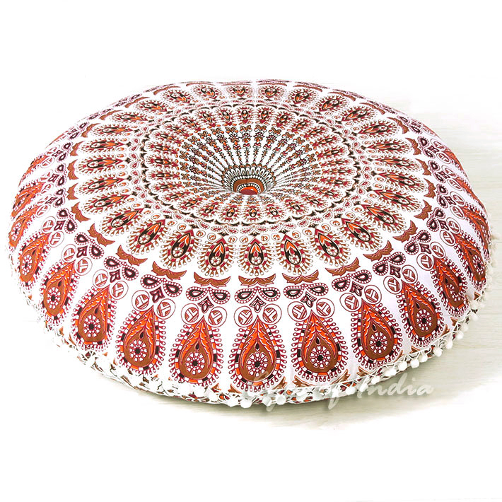 White Floor Pillow Cushion Cover Hippie Mandala Style 32