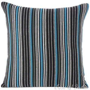"Black and Blue Dhurrie Decorative Sofa Pillow Cushion Cover - 16"", 24"""