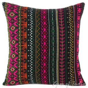 "Black Dhurrie Striped Boho Kilim Decorative Pillow Cushion Cover - 16"", 24"""