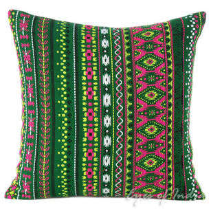 "Green Stripe Bohemian Purple Dhurrie Decorative Sofa Pillow Cushion Cover - 16"", 24"""