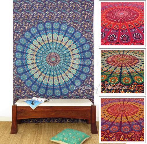 gro e auswahl zwei indische elefanten mandala wandbehang. Black Bedroom Furniture Sets. Home Design Ideas