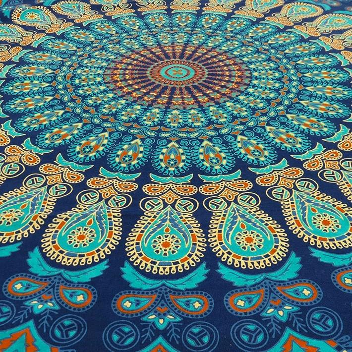 einzelbett blau indian hippie mandala wandbehang strand. Black Bedroom Furniture Sets. Home Design Ideas