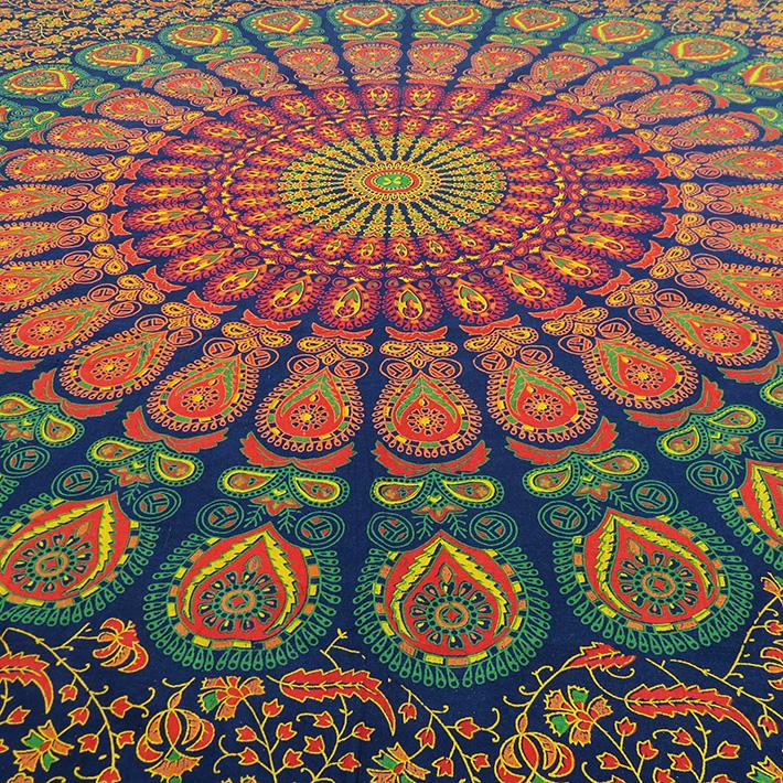 einzelbett blau indisch hippie mandala wandbehang strand. Black Bedroom Furniture Sets. Home Design Ideas