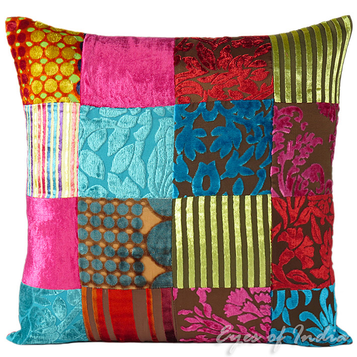 """Colorful Pillows For Sofa: 16"""" COLORFUL VELVET DECORATIVE SOFA PILLOW CUSHION COVER"""