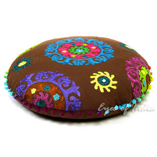 Brown Round Decorative Floor Cushion Pillow Cover - 24""