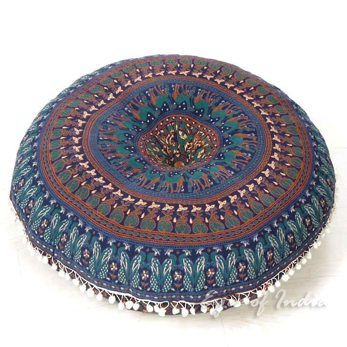 Hippie Floor Pillows : Blue Mandala Bohemian Hippie Floor Cushion Pillow Throw Cover - 32