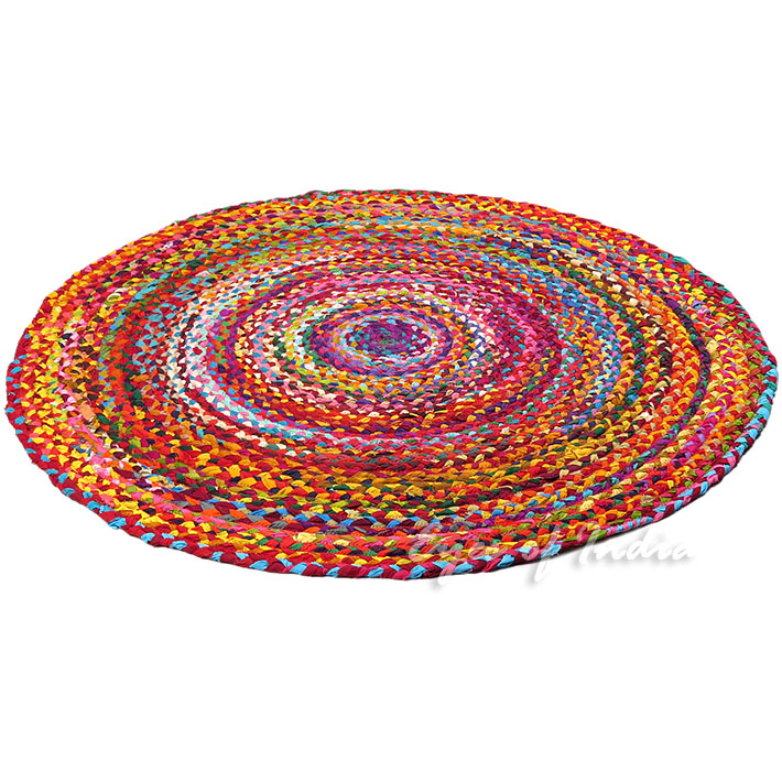 4 Ft Round Colorful Woven Chindi Braided Area Decorative