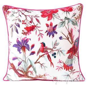 "Velvet Bird Paradise Decorative Throw Cushion Pillow Cover - 16"""
