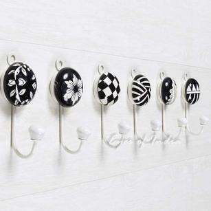 "Ceramic Decorative Bohemian Indian Boho Wall Hooks Hangers Coat Rack - 5"""