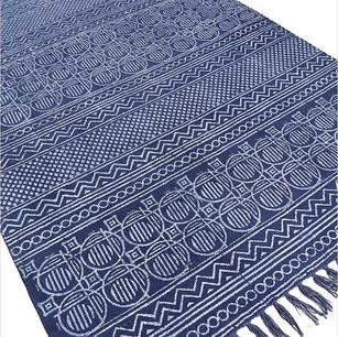 Blue Cotton Flat Weave Hand Woven Dhurrie Area Rug - 3 X 5 , 4 X 6'