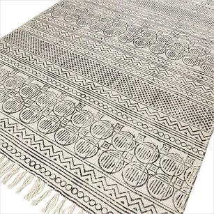 White and Black Cotton Printed Area Accent Dhurrie Rug Woven Flat Weave - 3 X 5, 4 X 6 ft