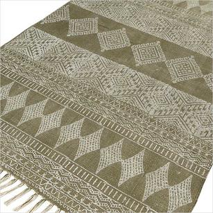 Green Cotton Print Accent Area Dhurrie Rug Hand Woven Flat Weave - 3 X 5, 4 X 6 ft