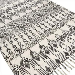 Black and White Cotton Hand Woven Flat Weave Dhurrie Area Rug - 3 X 5 , 4 X 6'