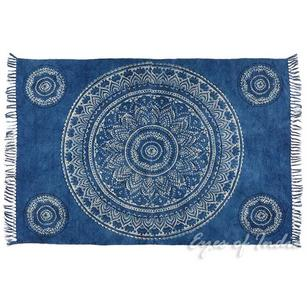 Mandala Cotton Printed Area Accent Dhurrie Rug Flat Weave Hand Woven - 3 X 5, 4 X 6 ft