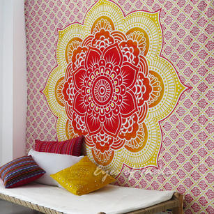 Orange Yellow Wall Hanging Tapestry Bedspread Hippie Mandala Beach Blanket - Queen/Double