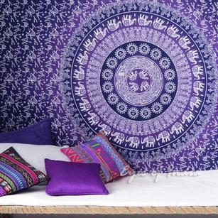 Twin Purple Ombre Bohemian Hippie Mandala Wall Tapestry Beach Bedspread - Twin/Single