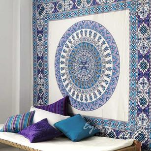 White Indian Mandala Tapestry Bedspread Beach Boho Wall Hanging - Queen/Double