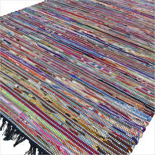 Colorful Blue Woven Decorative Bohemian Boho Chindi Area Rag Rug - 4 X 6 ft