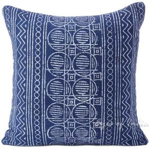 "Indigo Blue Printed Cotton  Boho Bohemian Cushion Pillow Throw Cover - 20, 24"""