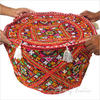 """Red Kutch Patchwork Ottoman Pouf Cover Round - 22 X 12"""""""