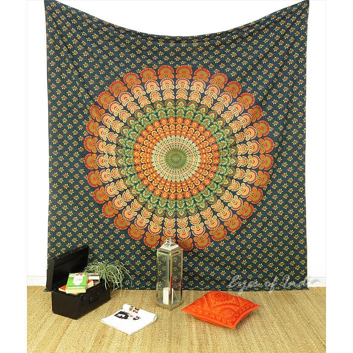 Doble verde hippie tapiz de mandala cubrecama manta playa cuarto ...