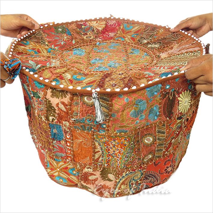 22 blumenmuster polsterhocker bestickt patchwork ethnische dekoration ebay - Etnische pouf ...