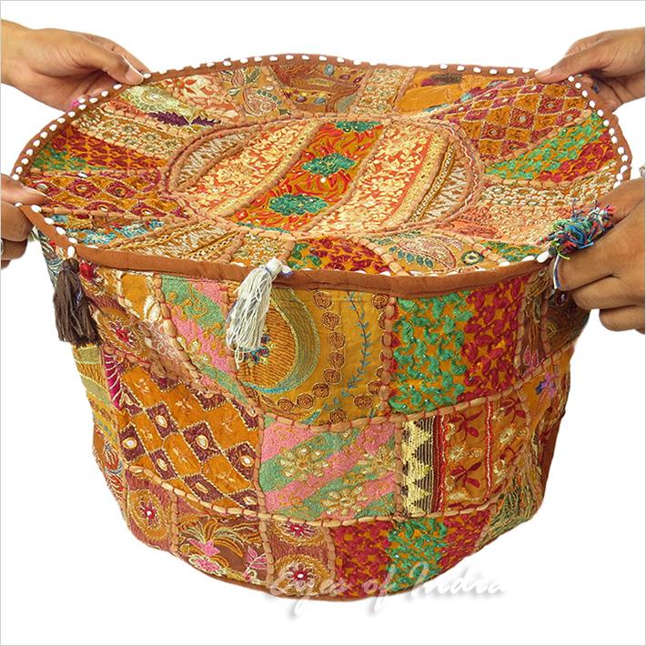 22 braun rund bestickt patchwork sitzkissen bohemian ethnische indien ebay - Etnische pouf ...