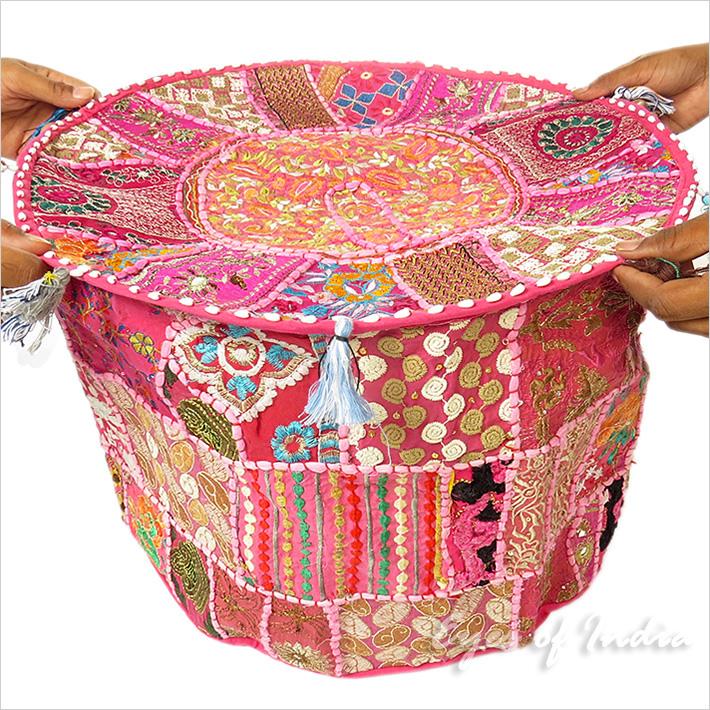 55cm rosa rund hocker stickerei ottoman b misch ethnisch. Black Bedroom Furniture Sets. Home Design Ideas
