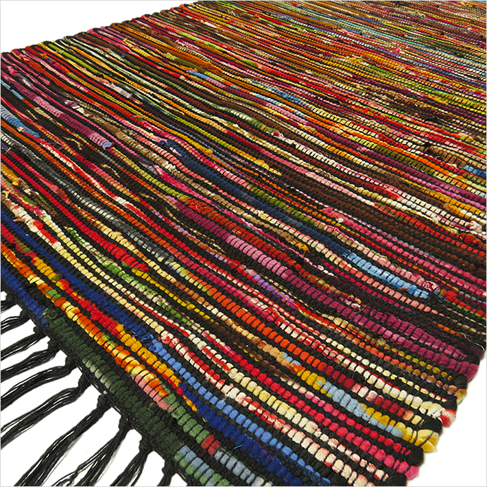 3 X 5 Ft Black Colorful Chindi Woven Rag Rug Bohemian Boho