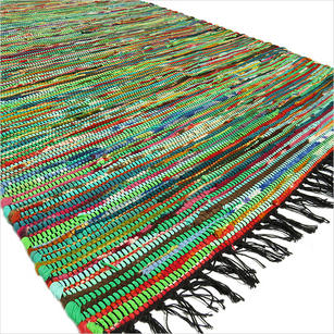 Green Colorful Chindi Woven Rag Rug - 3 X 5'