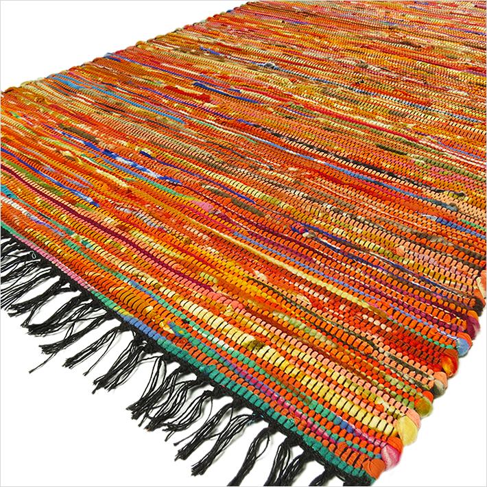 Rag Rug Prices: 3 X 5 Ft ORANGE COLORFUL WOVEN CHINDI RAG RUG Bohemian