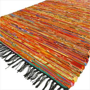 Orange Colorful Woven Chindi Rag Rug - 3 X 5'