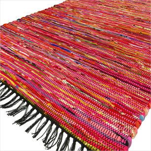 Pink Colorful Woven Chindi Rag Rug - 3 X 5'