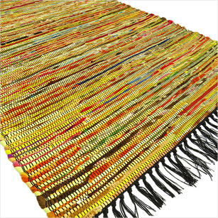 Yellow Colorful Woven Chindi Rag Rug - 3 X 5'