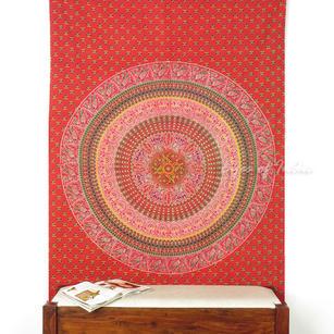 Red Hippie Boho Elephant Mandala Tapestry Indian Bedspread Bohemian Hanging- Twin/Single
